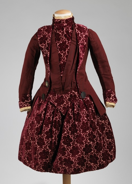 A gorgeous girl's French cut velvet dress made in 1886.