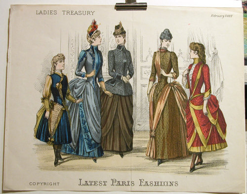The last few years of the 1880s saw the brief reintroduction of the bustle to girl's fashion. This resulted in somewhat awkward shortened styles like the ones seen in this plate from Ladies Treasury, February 1887.