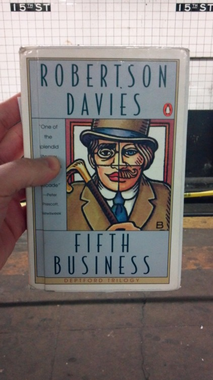 Fifth Business by Robertson Davies (1970) A page-turner in the Bellovian model of a cranky, aging intellectual justifying his life and personal philosophical system. It is: immensely readable; frequently laugh-out-loud funny; and downright musical in its mastery of narrative flow. Davies' reverence for myth, and the ways in which he allows such reverence to bend the shape of the story, reminds me vividly of James Branch Cabell. Like Cabell, Davies has the knack for the detail that punches the psychological (as the anonymous tumblr user who recommed this book noted, Jungian) gut. I am loathe to explain any of the plot, except that you meet memorable and very alive people at every turn: a fool-saint, a very serious magician in need of a bombastic fake autobiography, a soft drink mogul, and, of course, the Fifth Business himself, Dunstable Ramsay. Dunstable Ramsay, our narrator, is a one-legged, one-armed World War I veteran, a private school teacher, and a well-regarded scholar of the saints. What is Fifth Business? Here's the epigram, to explain:  Those roles which, being neither those of Hero nor Heroine, Confidante nor Villain, but which were nonetheless essential to bring about the Recognition or the denouement, were called the Fifth Business in drama and opera companies organized according to the old style; the player who acted these parts was often referred to as Fifth Business.  It's quoted from a fake Danish reference book, so you know this author has what it takes. Serious thanks to the anonymous tumblr user who recommended me this book! I'm definitely going to try and sneak Fifth Business into my everyday idiomatic lexicon. And, of course, I'm going to finish this Deptford Trilogy.