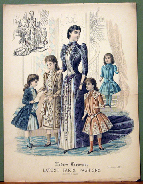Very cute girls' ensembles from Ladies Treasury, October 1889.
