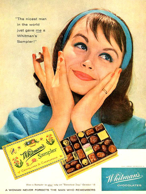 theniftyfifties:  Whitman's Sampler chocolate advertisement, 1958.