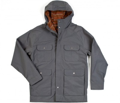 Brixton Ridge Parka - Nylon. Clean. Crisp. This jacket is made for backwoods hiking on a crisp fall day. The color is a great dusk grey color, contrasted nicely by an earthy plaid-print flannel lining for extra warmth. Lined with an inside breast pocket as well. Available Here