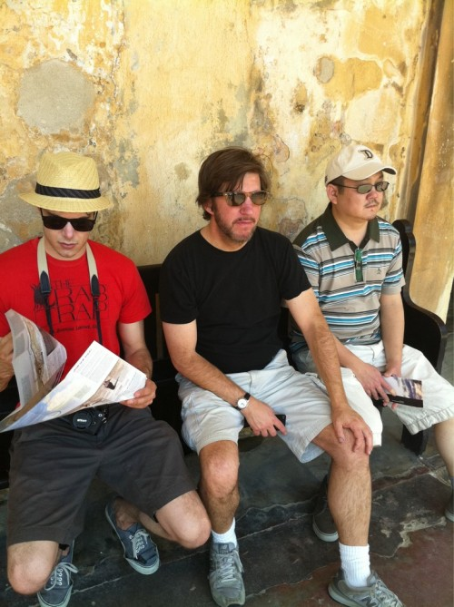 """Brody, Peters, and Takahashi getting all touristy on their day off in Old San Juan…"" via Twitter @W2TheJungle Filming ""Welcome to the Jungle"" in Puerto Rico"