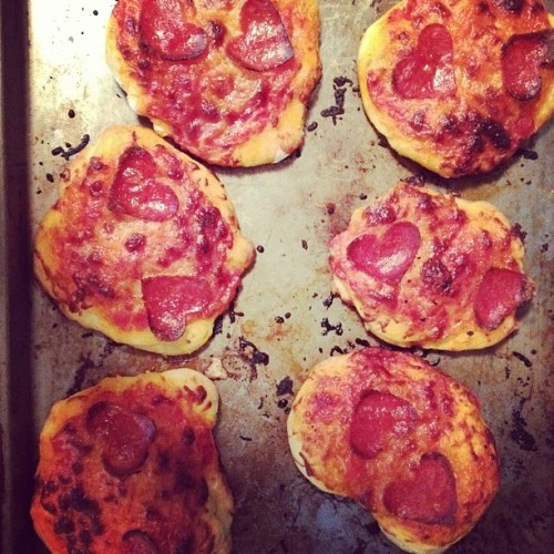 #heart shaped pepperoni pizzas for galentines day (Taken with instagram)