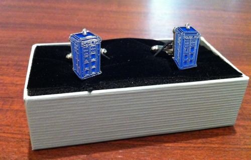 TARDIS cufflinks… Getting married on the 25th … My cufflinks just arrived! via reddit/r/doctorwho