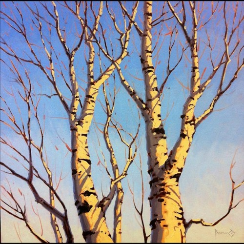 On the easel: winter branches (Taken with instagram)
