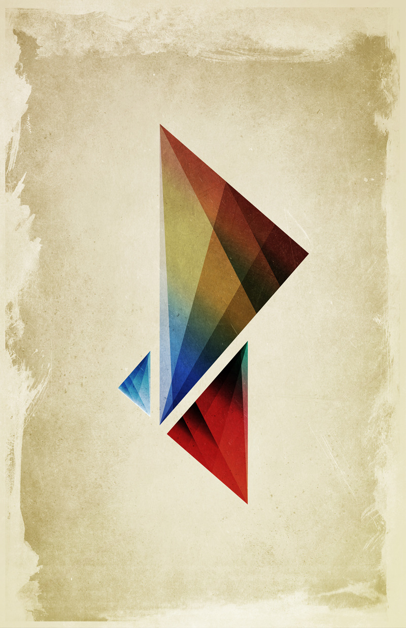 barrettbiggers:  Triangularity Means We Dream in Geometric Colors by Barrett Biggers ©2012. Prints / iphone / ipad / laptop cases / tshirts available at Society6.com
