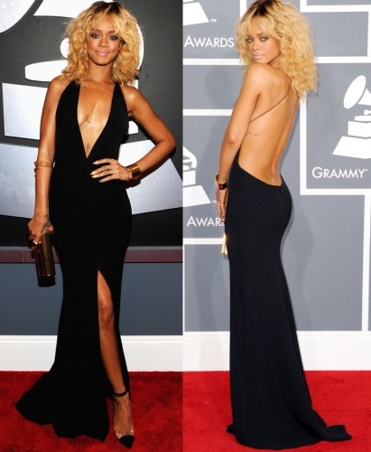 Rihanna 2012 Grammy Awards- Armani Dress Collab w/ Christian Louboutin Bis Un Bout Heels