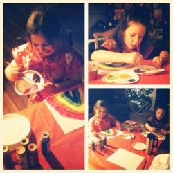 Lessons with Anna and Ava! #girls #kids #lessons #art #paint #painting #student #students #fun  (Taken with instagram)