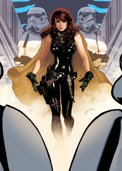 unknownskywalker:  Mara Jade by Adam Hughes  I always imagined her with smaller boobs and bigger hips - but to each their own! This is still pretty damn cool!