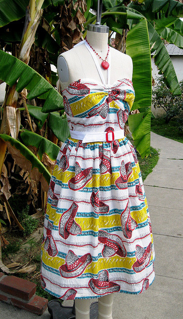 1940s vintage novelty Mexican halter sundress seersucker for sale! by nudeedudee on Flickr.Retro dress from Nudeedudee made from the most amazing vintage seersucker fabric!
