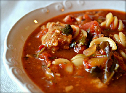 It's VEGAN LASAGNA SOUP. This combines my two great loves, lasagna and soup, into one mega-dish of culinary superiority. If this dish were a person, she'd be the prettiest AND the smartest and really funny and probably a great lay. So, me!