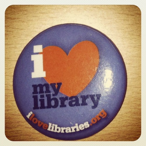 eternallinestotime:  The pin they gave me at Grad School Orientation for my MLS :)   Damn. I wish my MLS program had been that cool.
