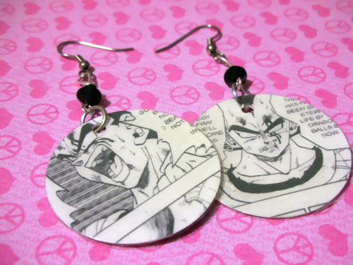 Upcycled Dragon Ball Z manga featuring Vegeta Original Geekery Earrings FREE USA SHIPPING  Available here: http://www.etsy.com/listing/92943556/upcycled-dragon-ball-z-manga-featuring