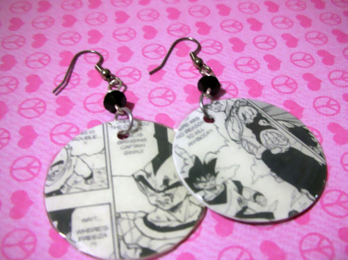 Upcycled Dragon Ball Z manga featuring Goku Vegeta Original Geekery Earrings FREE USA SHIPPING Available here: http://www.etsy.com/listing/92943683/upcycled-dragon-ball-z-manga-featuring?ref=v1_other_1