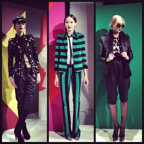 Alice + Olivia keep it bold and mod during this year's Fashion Week. I die for that jacket on the left. Sleek, cool and the perfect amount of femininity. aliceandolivia:  Get Into Our Pants #aonyfw #getintoourpants (Taken with instagram)