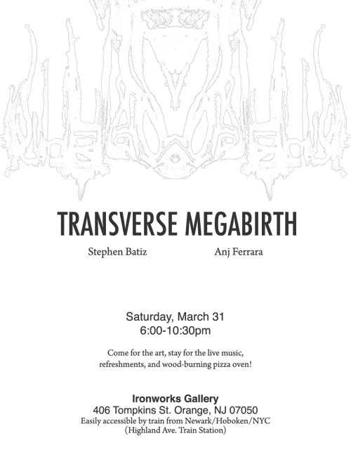 Just a reminder! Transverse Megabirth opening reception is 4 days away. This coming Saturday (March 31) Limited edition event t- shirts will be available Live Music by That's Rugby Pizza From our wood-burning earth oven Refreshments will be served (21+ to drink) Free of Charge, All Ages  Transverse MegaBirth from Tyree Huey on Vimeo.