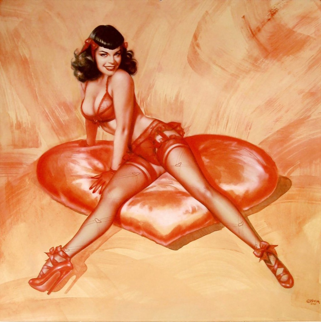 thequeenofpinup:  Happy Valentine's Day to all of my followers! ;) Crimson Heart art by Olivia