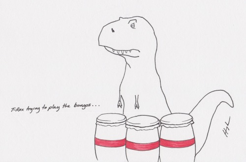 trextrying:  T-Rex Trying to Play the Bongos… #TRexTrying