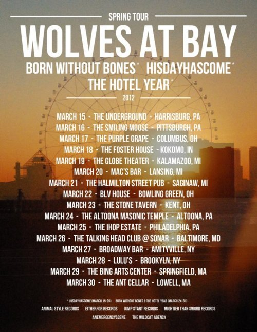 Wolves At Bay, Born Without Bones, HisDayHasCome, and The Hotel Year are heading out on tour together in March.