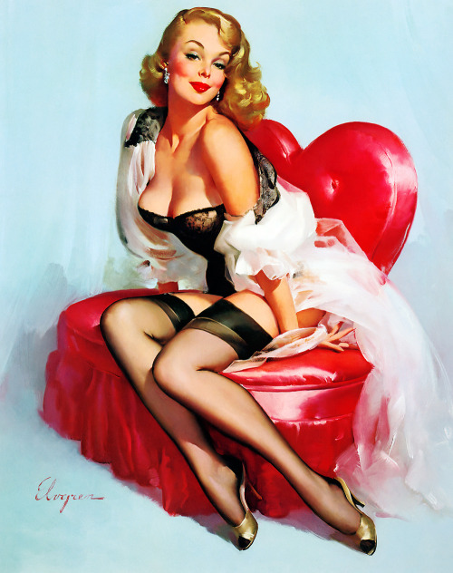"One of my fave Elvgren images. vintagegal:  ""Mona"" by Gil Elvgren (1959)"