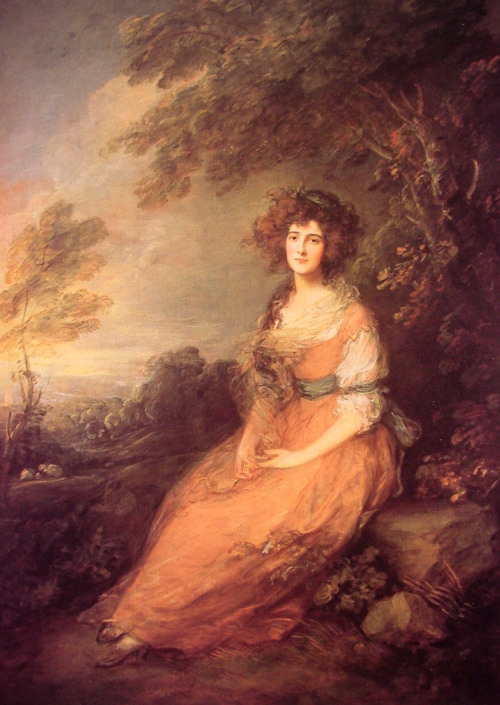 cavetocanvas:  Thomas Gainsborough, Mrs. Richard Brinsley Sheridan, 1785-86 Things to think about when studying: Is this a Neo-classical portrait, or a Romantic portrait? How do you know? How does Gainsborough depict the landscape? The sitter in the landscape? How does this painting reflect certain ideas from the time?