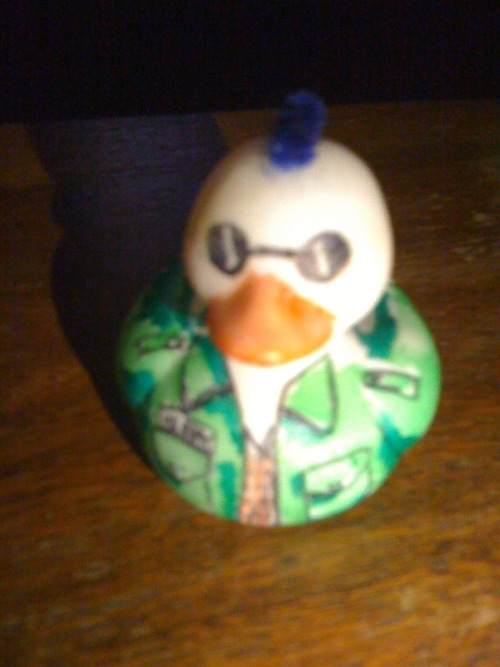 Travis Beakle rubber duck. Or Travis Pekkle if you know your Sanrio. Created by me on craft Sunday a Tattooed Mom's Philadelphia, PA a while back.