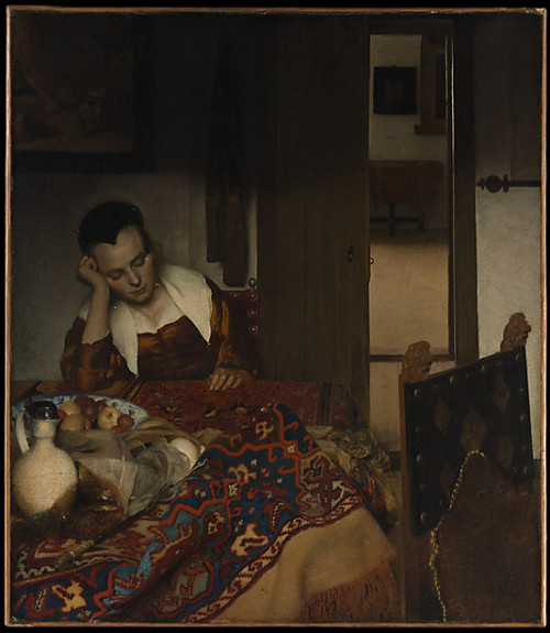 fyeshistoryofart:  A Maid AsleepJohannes Vermeer 1656 - 7Oil on canvas   I love love love Vermeer. From the first second I saw his paintings, I was entranced. It was love on first sight.