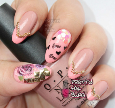 prettynailswag:  Another V-Day mani…NailGrafx, chains, studs, hex. glitters Photo Cred: DSK