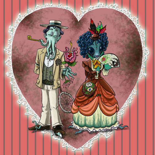 archiemcphee:  Wild Guru Larry made this awesome Cthulhu Valentine featuring a wonderfully dapper illustration of our favouriter Elder God come a-wooing his lovely fishlass with a chompy piranha plant.  [via Kuriositas]  This is completely adorable