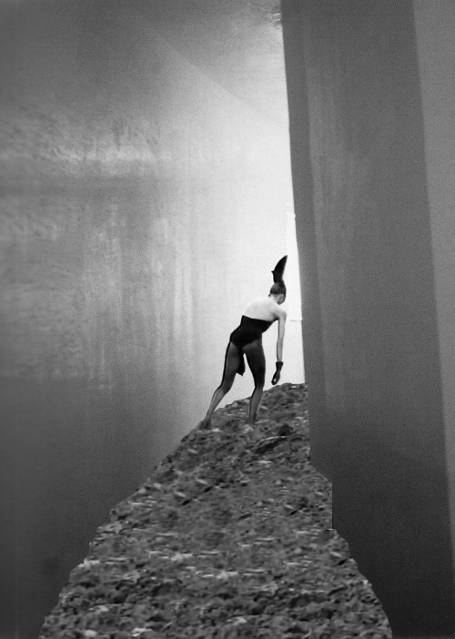 "PINA BAUSCH MEETS STEVEN HOLL VIA BETONBABE SCENE FROM DIE KLAGE DER KAISERIN (THE COMPLAINT OF AN EMPRESS, 1989) COLLAGED INTO STEVEN HOLL'S STRETTO HOUSE (1991), 2012 ""The hyper-stimulation of the body transforms an optically oriented space into a space where the body is slowed down in order to sharpen the contrast between the directionality of the space and the actual bodily effort to move in that direction. A vanishing point is thus transformed into a distant, slow, muffled, and earthy vanishing point."""