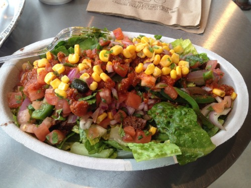 Day 39: I try to make my trips to Chipotle as healthy as possible. Calorie Count: Salad: 10 1/2 black beans: 60 Fajita peppers: 20 Steak: 190 Salsa, Mild: 20 Salsa, Corn: 80 Salsa, Hot: 40 Total: 420  It still tastes awesome.