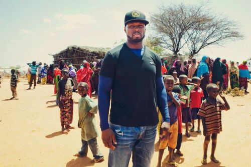 50 Cent in Somalia; on his mission to feed one billion children. Photo Credit: Abby Ross