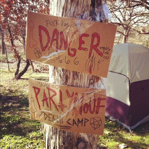 #partymouf #death #camp #fire #beer #punxpicnicatx #die #hell #tentcity @imzeke @666party (Taken with instagram)