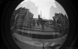 One Way, No Turn On Red Double Exposure Fish Eye 35mm Junior Workshop Alternative Camera Project