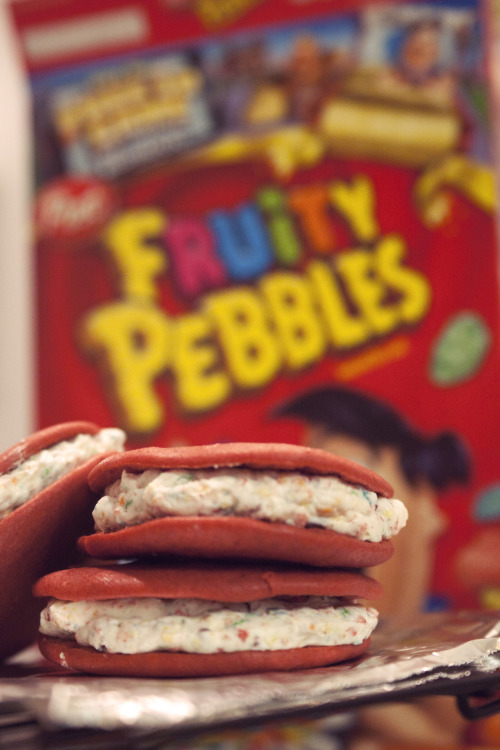 "Staying up stupid late to make these ""Pink Velvet Fruity Pebble Whoopie Pies"" that look a little more like defunct tuna salad sandwiches than I'd hoped."