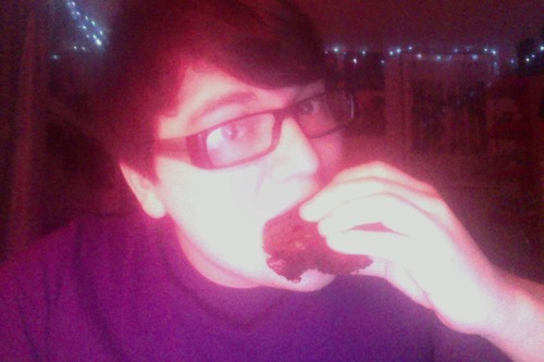 "365 Day Challenge | Day 360 | I'm eating the last of the yummy brownies that Sabrina made | Today was pretty good.  I woke up at 8 because Devin needed a ride to school, so I drove him then came back home & went to bed.  Then I woke up at 1ish & talked to my dad about bathroom stuff.  Then I woke up Jessa & she laid in bed while I figured out some last minute bathroom stuff.  Then I copied my footage from ""Not Alone.""  Then Jessa & I watched Cupcake Wars.  After that we went to pick up my sushi & Jessa's ground beef for her dinner, then we went & picked up food for my mom & Abby.  When we got home I made Jessa's dinner & then we ate our foods while finishing The Rebound.  Jessa liked it.  Then she went on the computer while I watched Talking Dead, Comic Book Men, & Gossip Girl. Then I showered & after that I watched The Karate Kid remake.  Now I'm gonna label some footage & then go to bed."