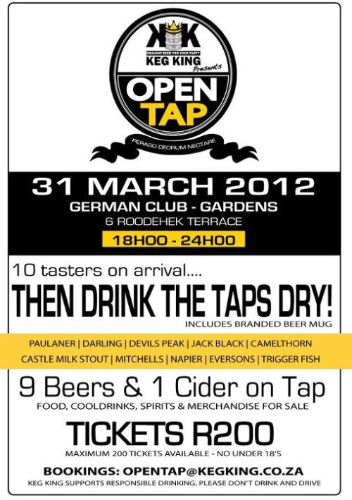 The time for the Keg King Open Tap Night is almost here. On 31 March at the German Club (6 Roodehek Terrace) in Gardens, Cape Town, eight brilliant craft beers, Eversons Cider and Castle Milk Stout will all be on tap. After a taster of each, attendees can drink all the beer they want - until the kegs run dry, that is. Tickets cost R200 before the evening, and, depending on your enthusiasm, perhaps your dignity afterward. Email opentap@kegking.co.za for tickets and further details.