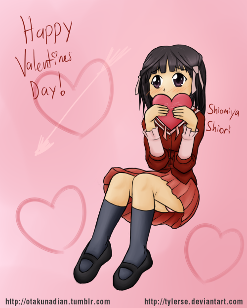 Happy Valentines Day, I'm off to bed. Shiomiya Shiori is from the anime/manga 'The World God Only Knows', if you haven't watched/read it, you're missing out.