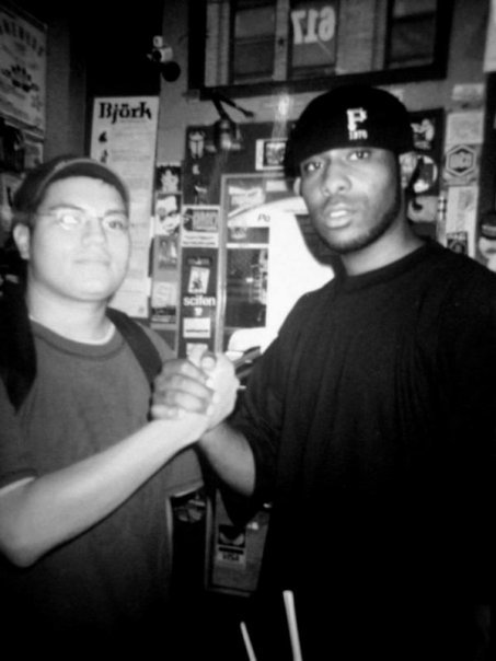 thelivingsoul:  me & the last emperor chillin in philly record shopping 2003