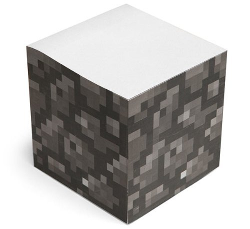 "Minecraft Note Cube at $14.95 Designed to resemble a stone block Cracks design as you peel away each note Leaves no cobblestone residue once fully mined Officially licensed Minecraft product 600 pages, 3"" x 3"" x 3"""