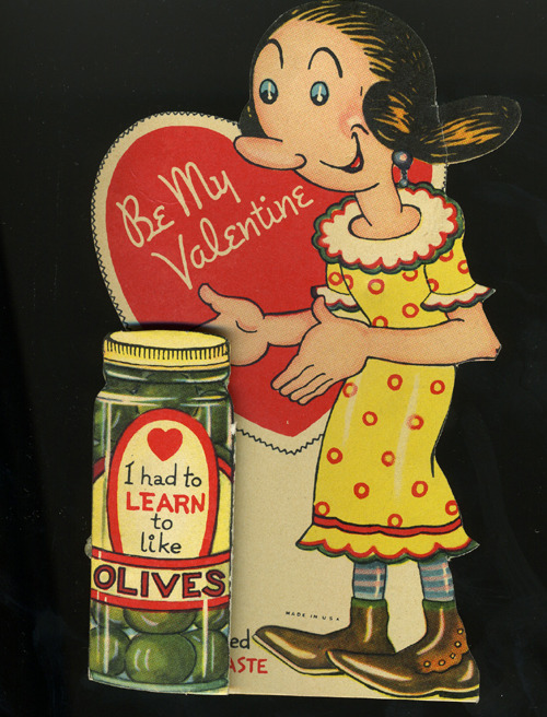 Olive Oyl Valentine greetings card