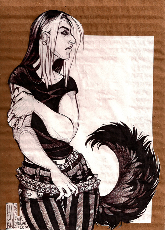 Darkwolf. Biro on paper on cardboard.  February 2012.