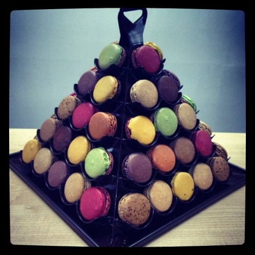 Macaroon tower from Jean-Paul Hevin #perksofthejob #valentine  (Taken with instagram)