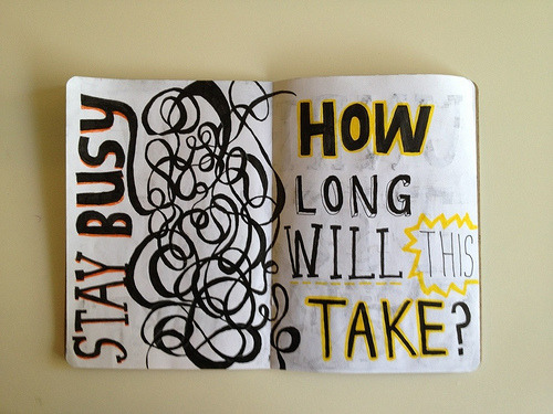 stay busy (by Beverly Ealdama) i'll admit i am a bit impatient when it comes to healing from sketchbook project 2012
