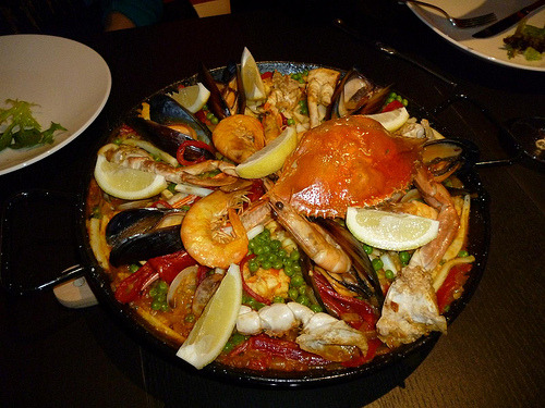 Seafood paella, Sydney Fish Markets Cooking School.
