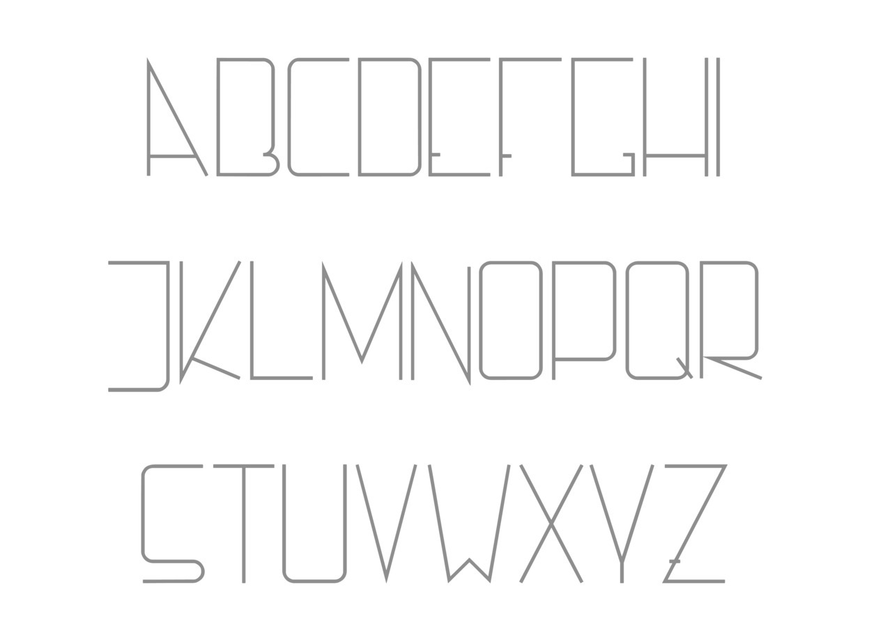 Just developed a majuscule font. A truetype font ready to use. It looks free and modern, I have no idea how to describe it.