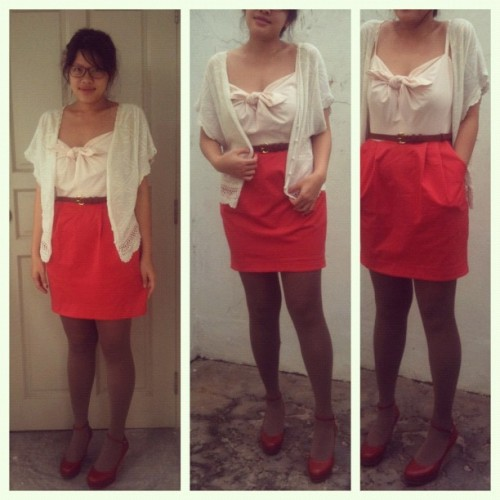 #ootd: Coral instead of red this Valentine's. Have a good one, you guys! (Taken with instagram)