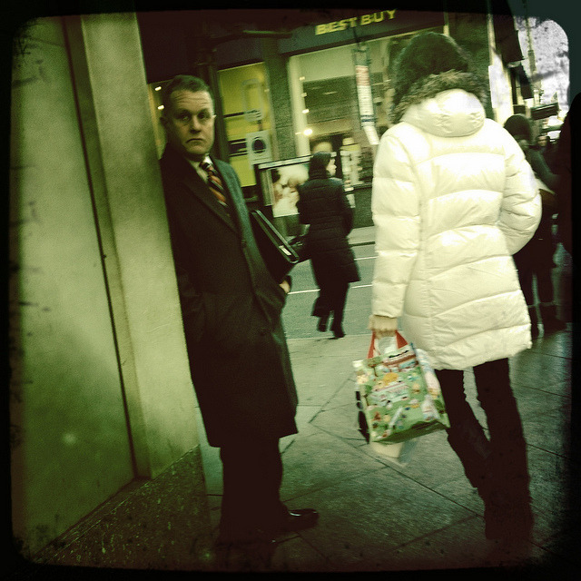 the businessman waits. midtown. on Flickr.A businessman waits at a corner on Fifth Avenue in Midtown.  Taken with Hipstamatic. John S Lens, Float Film