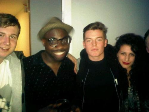 Me with Luke, Chloe and Ghostpoet - who genuinely looks like a ghost in this photo